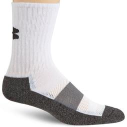 Under Armour Performance Crew Socks, White, Large