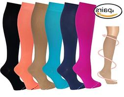 Differenttouch 6 Pairs Knee High Compression Socks - Best Me
