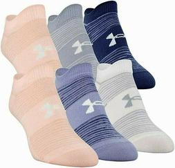 UNDER ARMOUR ESSENTIAL NO SHOW SOCKS 6-PAIRS Women's Peach F