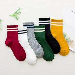 Fashion Women Cotton Striped Socks Soft Cute Solid Short Spo
