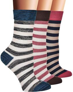 Flora&Fred Women's 3 Pair Pack Vintage Style Cotton Crew Soc