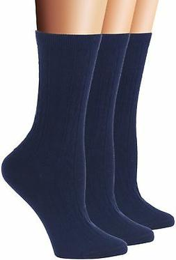 Flora&Fred Women's 3 Pair Pack Cotton Crew Socks Shoe 5-9 Na