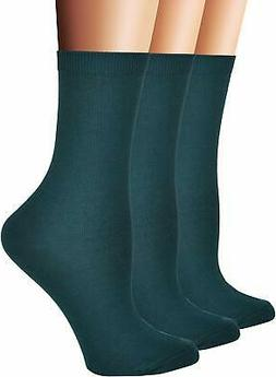 Flora&Fred Womens Flat Knit Cotton Crew Sock,Solid Color,Siz
