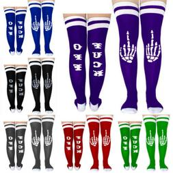 Fuck-off Women Stocking Socks Long Over Knee Sports Tights T