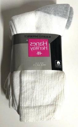 Hanes Her Way Cotton Crew Socks 3 Pair White Women's Shoe Si