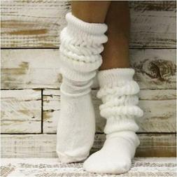 HOOTERS  white cotton slouch socks women,  MADE USA, 80s 90s
