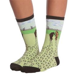 Horses Walking K Bell Women's Crew Socks New Colorful Novelt