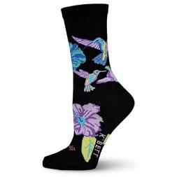 Hummingbirds K Bell Trouser Crew Socks Black New Women's Siz