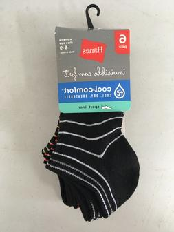 Hanes Invisible Comfort Black Socks 6 Pair Women's Shoe Size