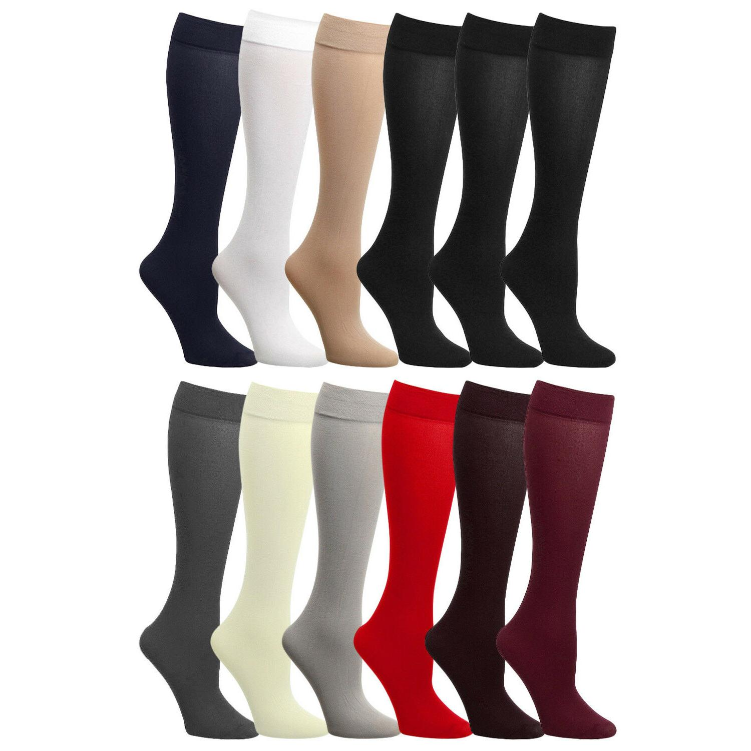 12-Pairs Pack Women Trousers Dress Socks Opaque Knee High St