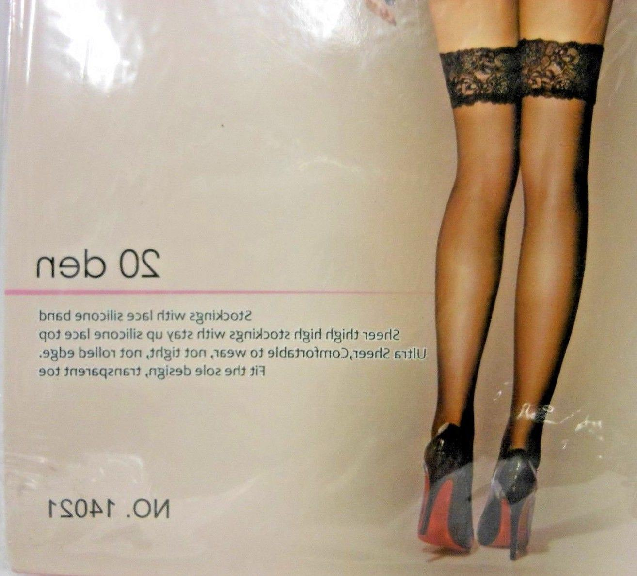 2x Women 20 Lace Thigh High Stockings M G1