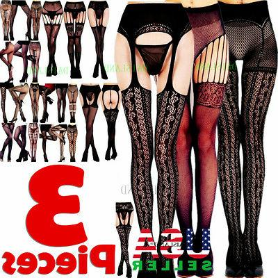 3 Pairs Fashion Women Stockings Socks Tights Pattern Sheer P