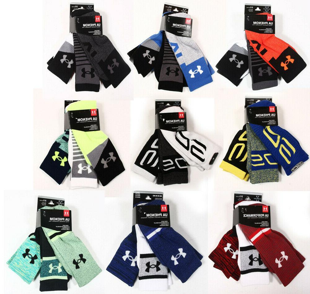 UNDER ARMOUR UA 3-PAIR CREW SOCKS,SC PHENOM,QUARTER SOCK 3-P