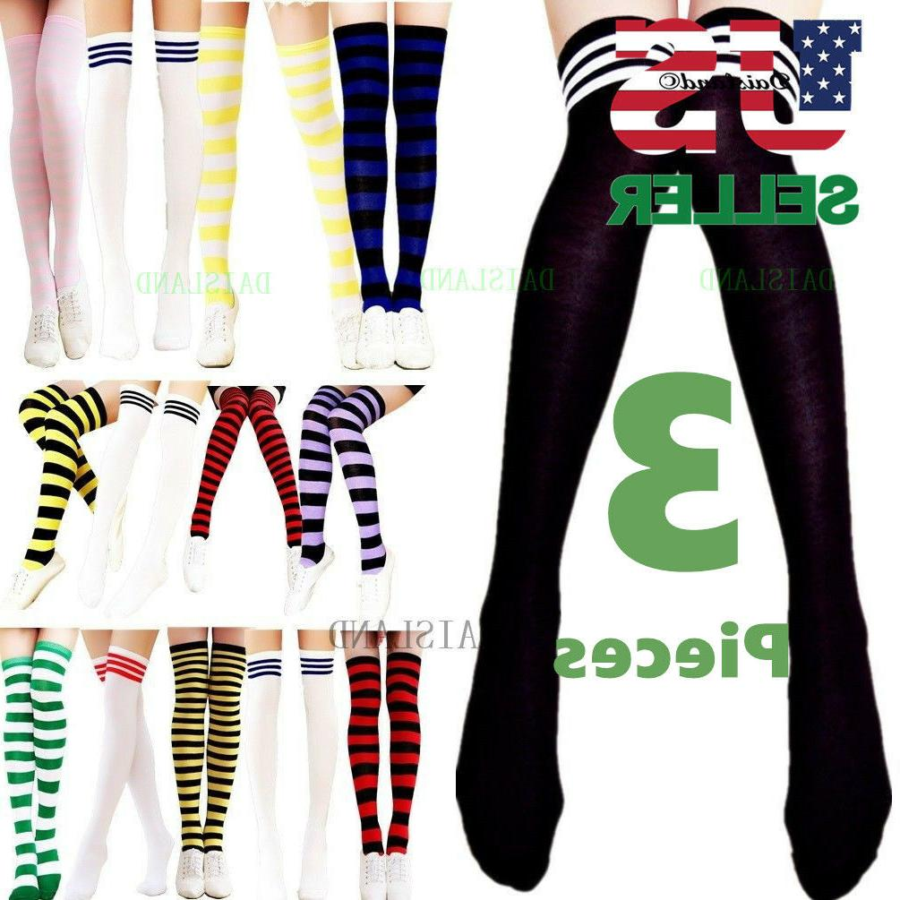 3 Women's Striped Thigh High Socks Sheer Over The Knee Plus