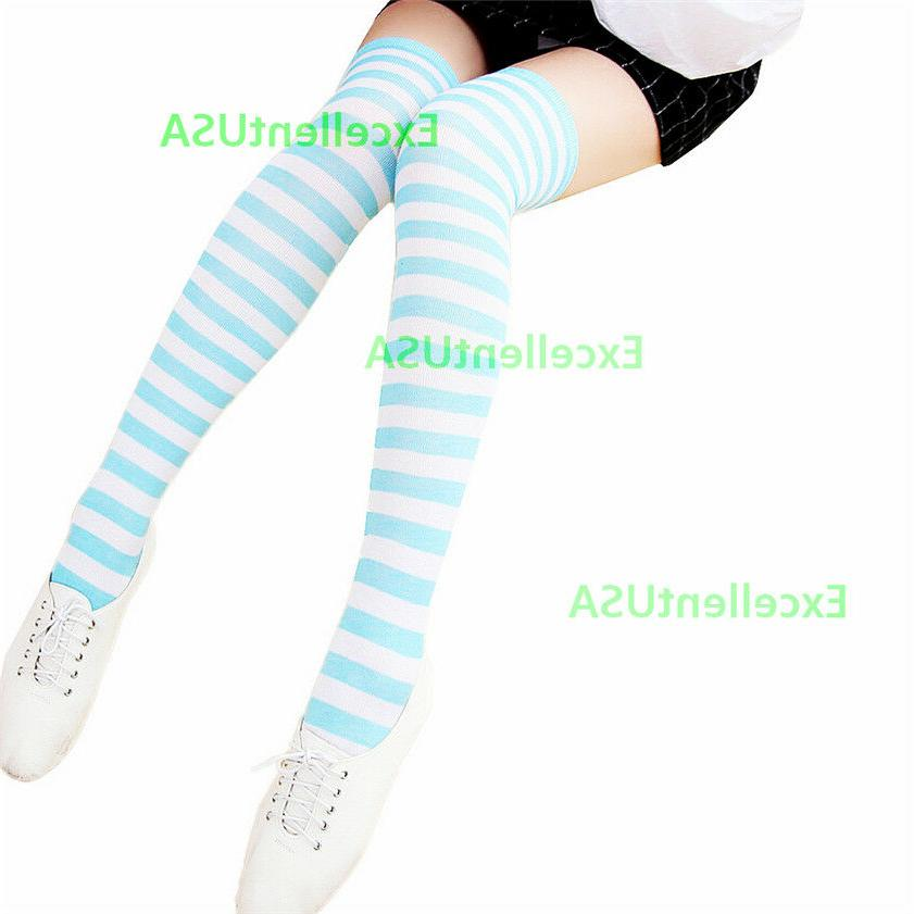 3 Women Striped High Socks The Cotton Stockings Soft