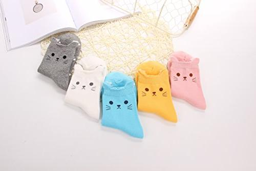 5 Women's Socks Cute Cat Funny Gift Size: Free 22.5-25.5cm Suitable US