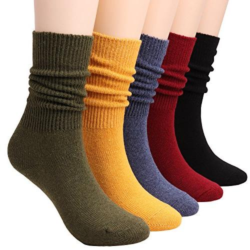 5 pairs women comfortable crew soft slouch