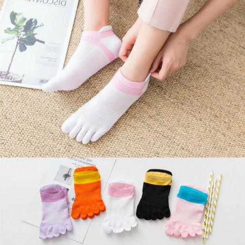 5 Pairs Women Toe Finger Socks Casual Ankle Low