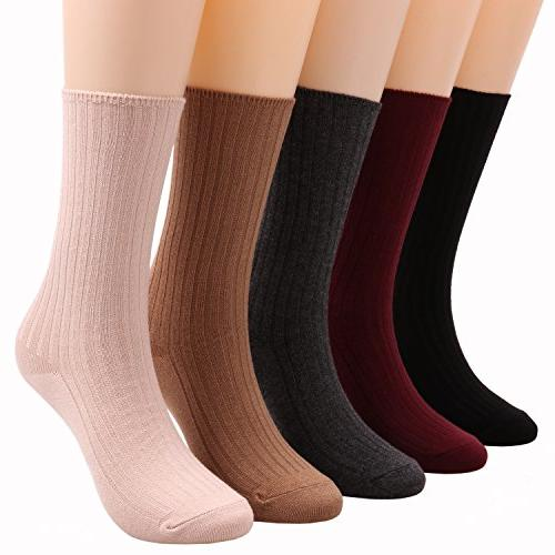 Galsang 5 Pairs Lightweight Cotton Casual Crew Knit Socks Solid 5-10 A504