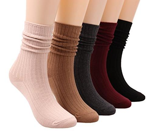 5 pairs womens lightweight cotton casual crew