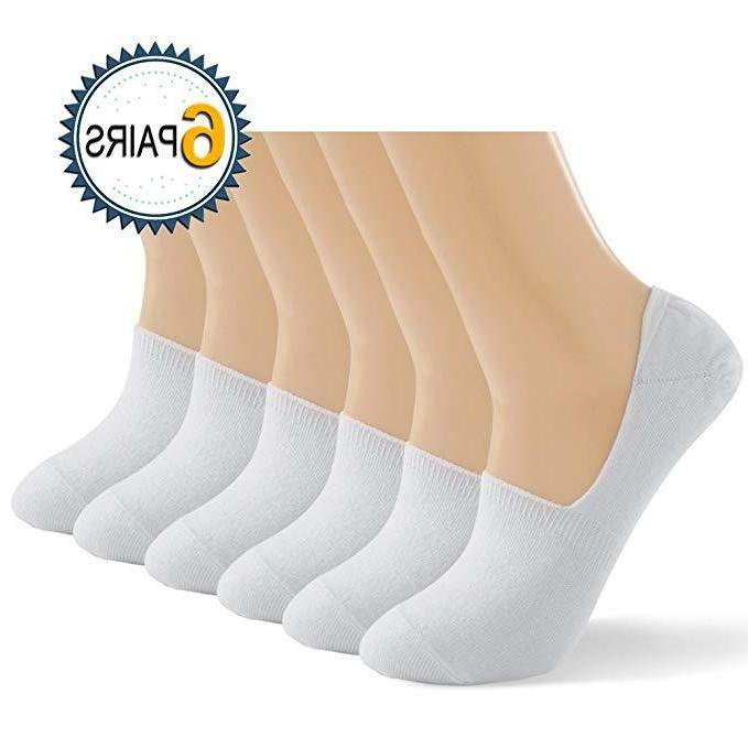 6-Pack Women's Ultra Low Cut invisible White Socks for flats