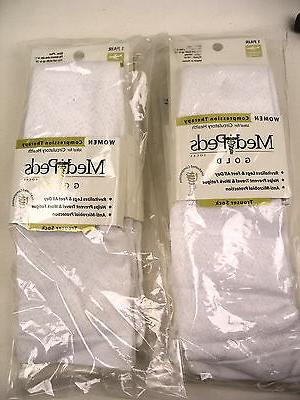 6 pr Women White trouser socks graduated compression PLUS si