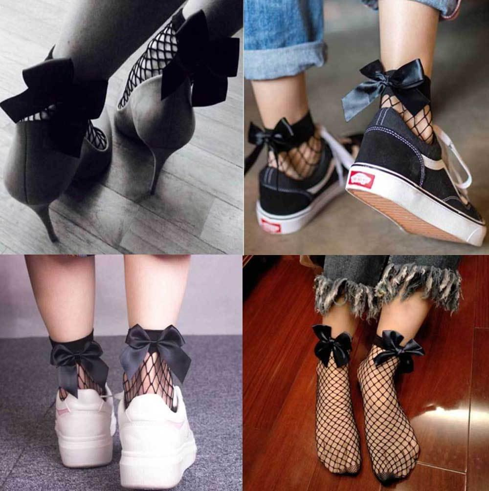Fishnet BOW Short Ankle Women Ladie Soft