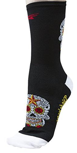 Defeet Aireator Sugar Skull Hi-Top 5in Sock Black/White, L -