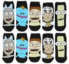 Rick And Morty Characters Women's 5 Pack Black Ankle Socks