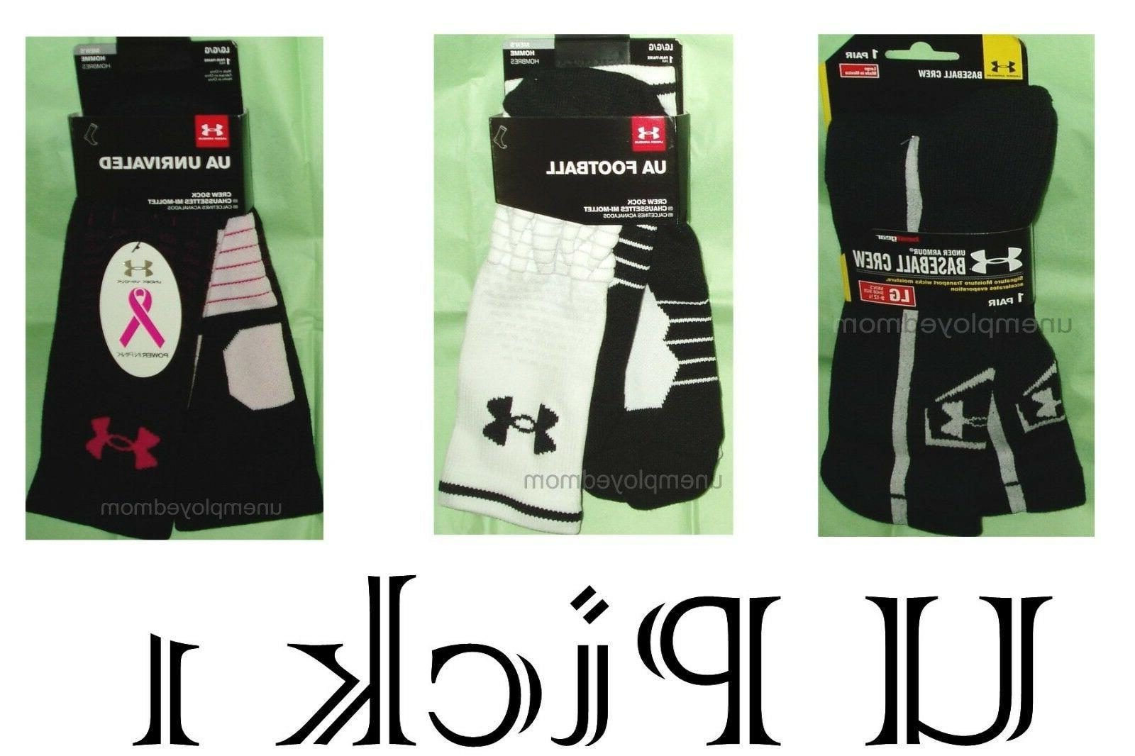 Under Armour Crew Sock Athletic Sports Mens 1 pair Active Ba
