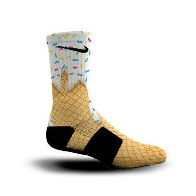 Custom Nike Elite Socks All Sizes ICE CREAM