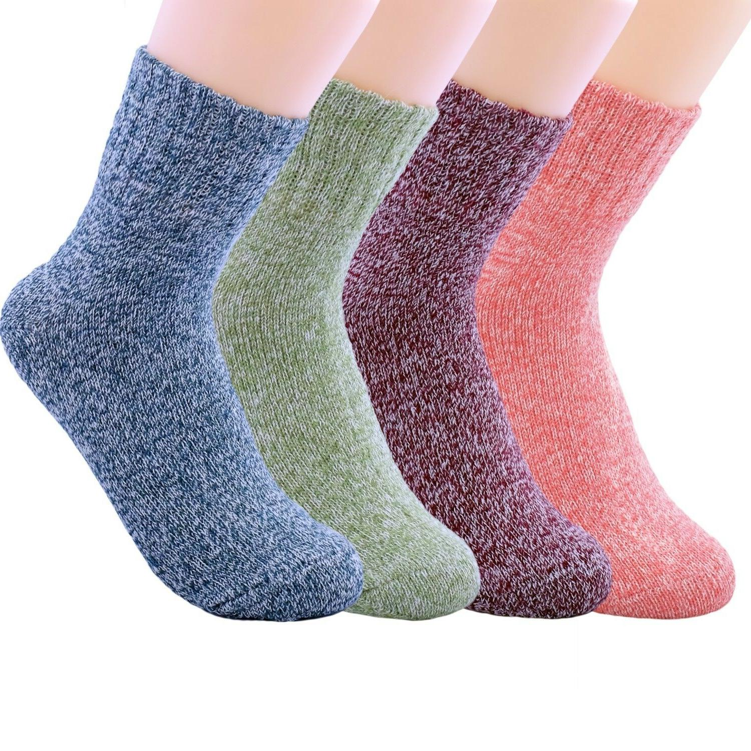 JOYCA & Co. 4 Pairs Women's Multicolor Blend Wool Cotton Thi