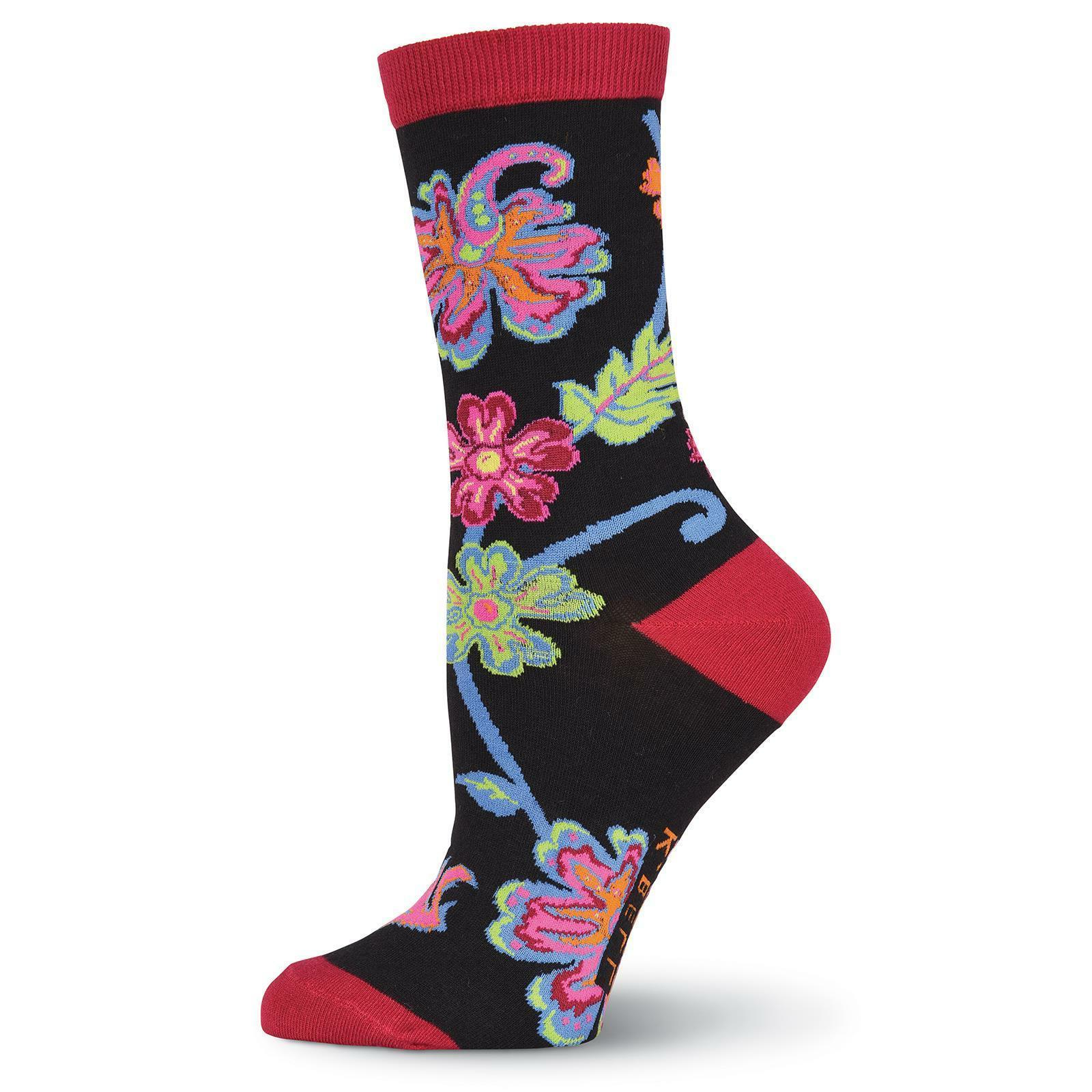 K.Bell Women's Abstract Floral Black Crew Socks fit shoe Siz
