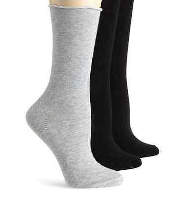 K. Bell Women's Socks Relaxed Roll Top Crew Gray Charcoal Wh