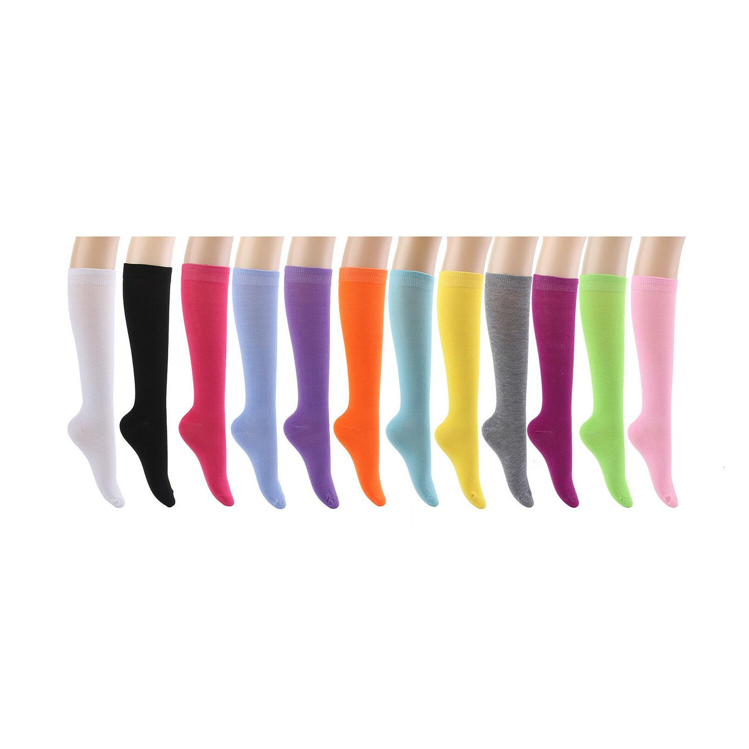 Knee High Socks Women lady Girl Uniform School 12 Pairs Size