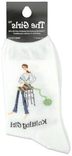 The Girls Socks-Knitting Girl -White