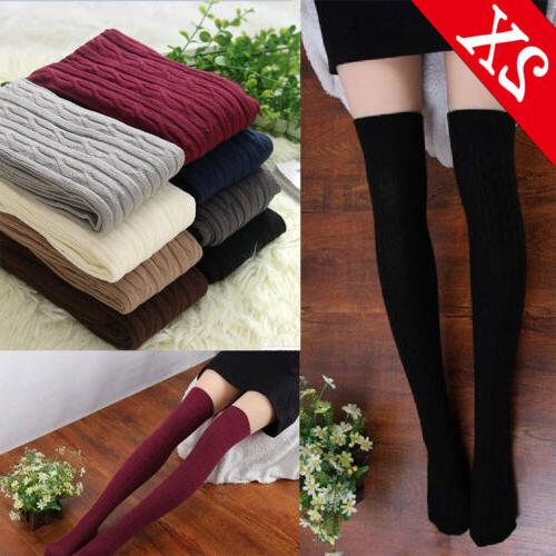 Lots Women Cable Knit Extra Long Boot Socks Over Knee Thigh