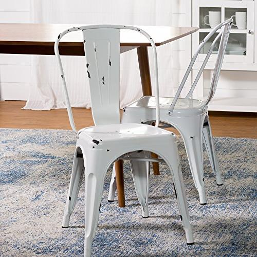 Walker Edison Metal Cafe Chair - Antique White - CH33MCWH NE