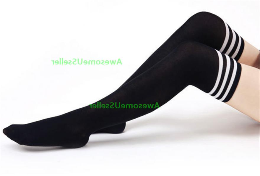 Stockings Thigh-Highs Stripped Plus Size