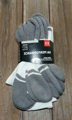 Under Armour Socks Crew Performance 4 Pair White Men Shoe 9-
