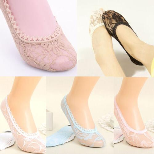 Summer Women Mesh Lace Antiskid Invisible Socks Liner No Sho
