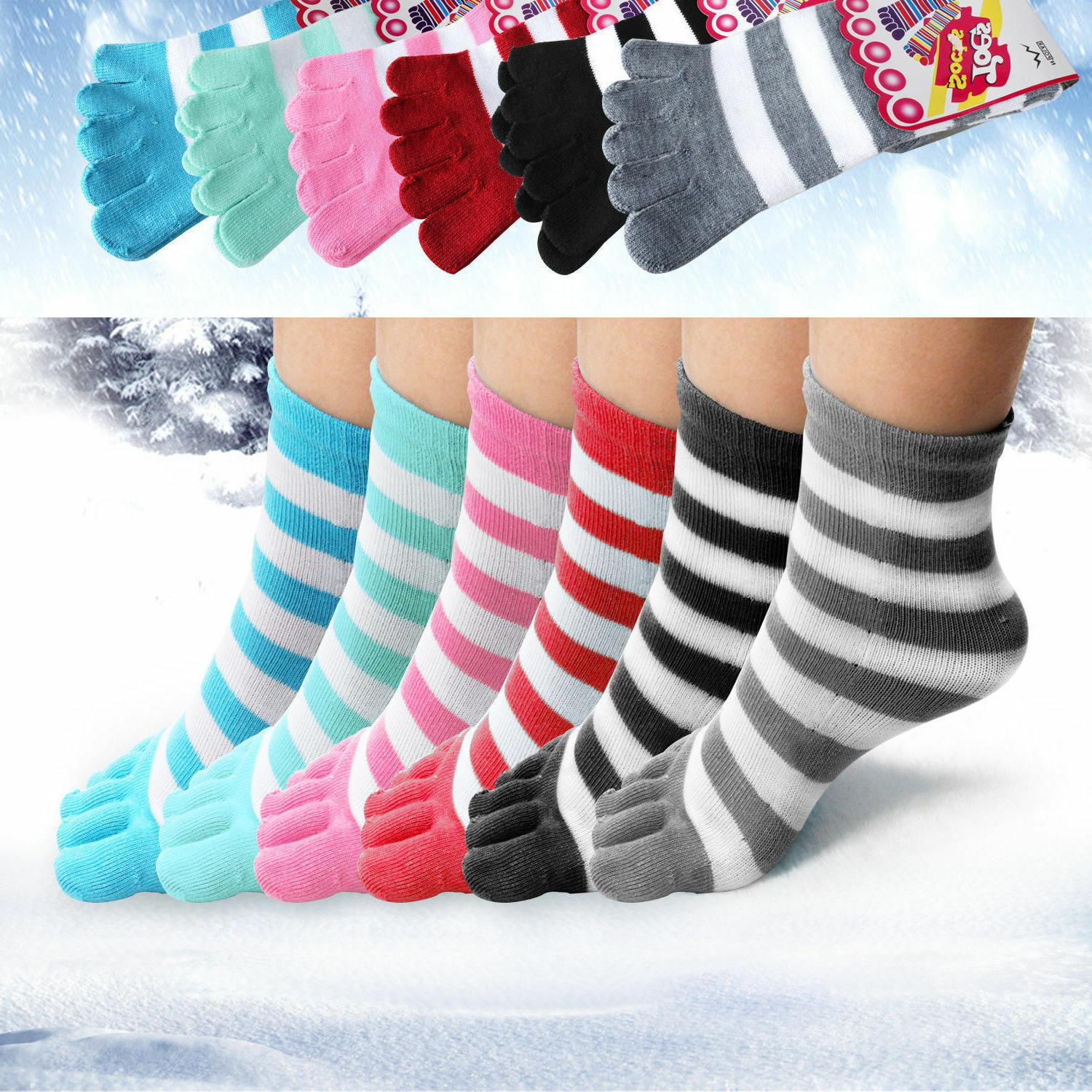 6 Pairs Soft Striped Girls 9-11 Color