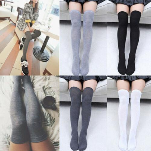 USA Girls Thigh High Over Knee Socks Women Cotton Stockings
