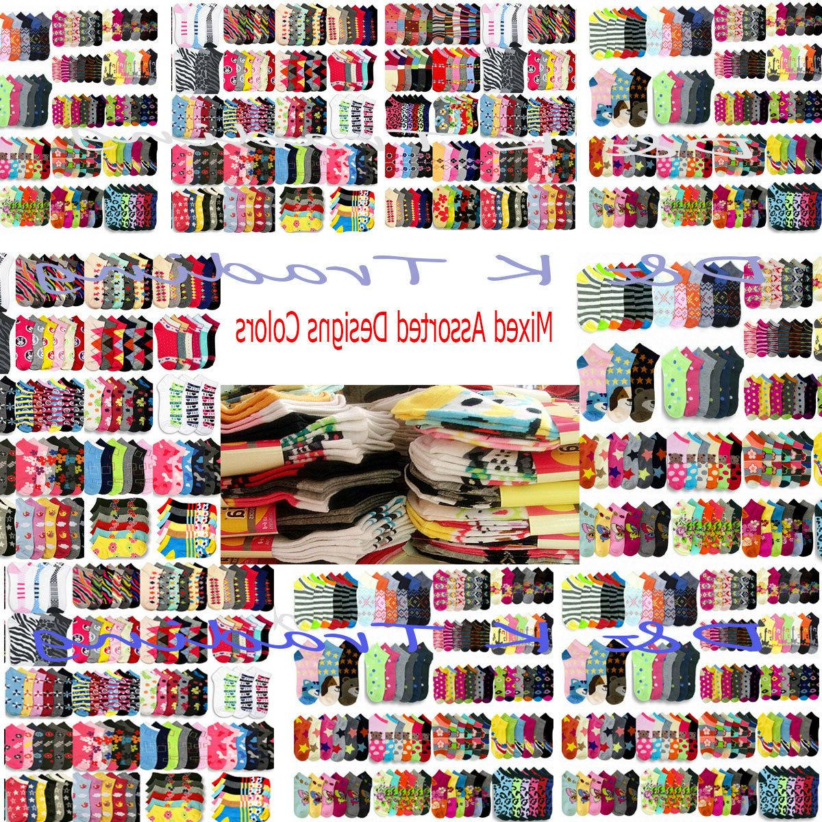 Wholesale Socks Lot Women's Girl 6-8 9-11 Mixed Assorted Des