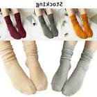 Women Fall Winter Pure Retro Cotton Thin Socks Soft Solid Co