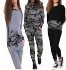 Women Ladies Army Camouflage Print 2 Pcs Tracksuit Jogging L