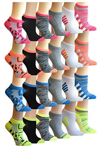 women s 24 pairs colorful patterned low
