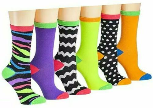 Tipi Toe Women's 3 Pack Colorful Patterned Crew Socks - NEW