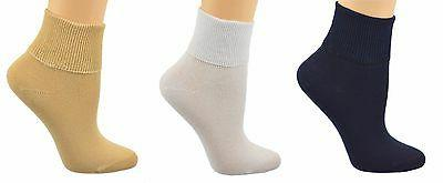 Sierra Socks Women's 3 Pair 100% Cotton Ankle Turn Cuff Seam