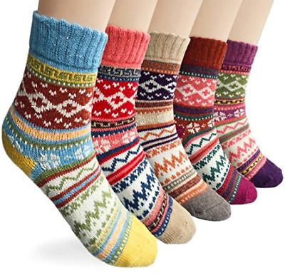 Loritta Women's 5 Pairs Vintage Style Winter Knitting Warm W
